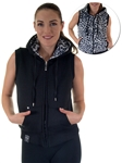 2030N- SPEV3009- Black/black leopardFaux Fur Hooded Vest /1-2-2-1