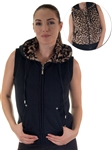 2030N- SPEV3009- Black/brown leopardFaux Fur Hooded Vest /1-2-2-1