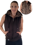2030N- SPEV3009- Brown/brown leopardFaux Fur Hooded Vest /1-2-2-1