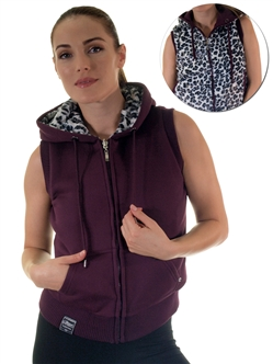 2030N- SPEV3009- Grape/black leopardFaux Fur Hooded Vest /1-2-2-1