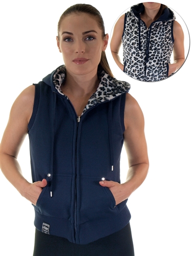 2030N- SPEV3009- Navy/black leopardFaux Fur Hooded Vest /1-2-2-1