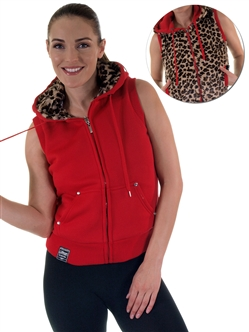 2030N- SPEV3009- Red/brown leopardFaux Fur Hooded Vest /1-2-2-1