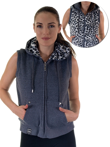 2030N- SPEV3009- Charcoal/black leopardFaux Fur Hooded Vest /1-2-2-1