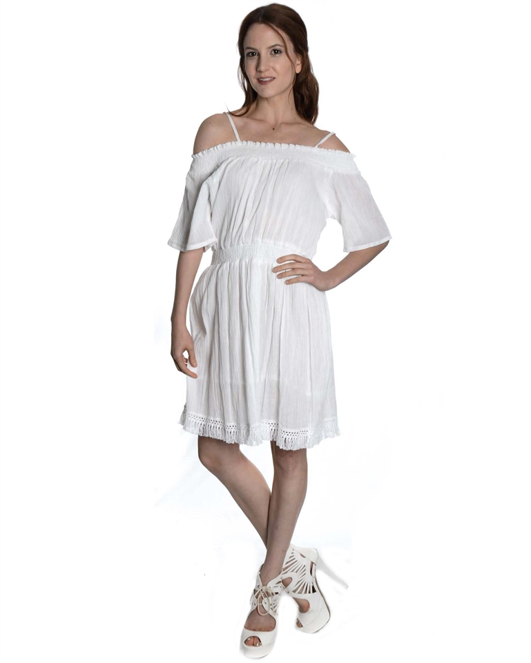 40054bc2e25 ... White Off-Shoulder Dress with Lace Design   1- View Larger Photo ...