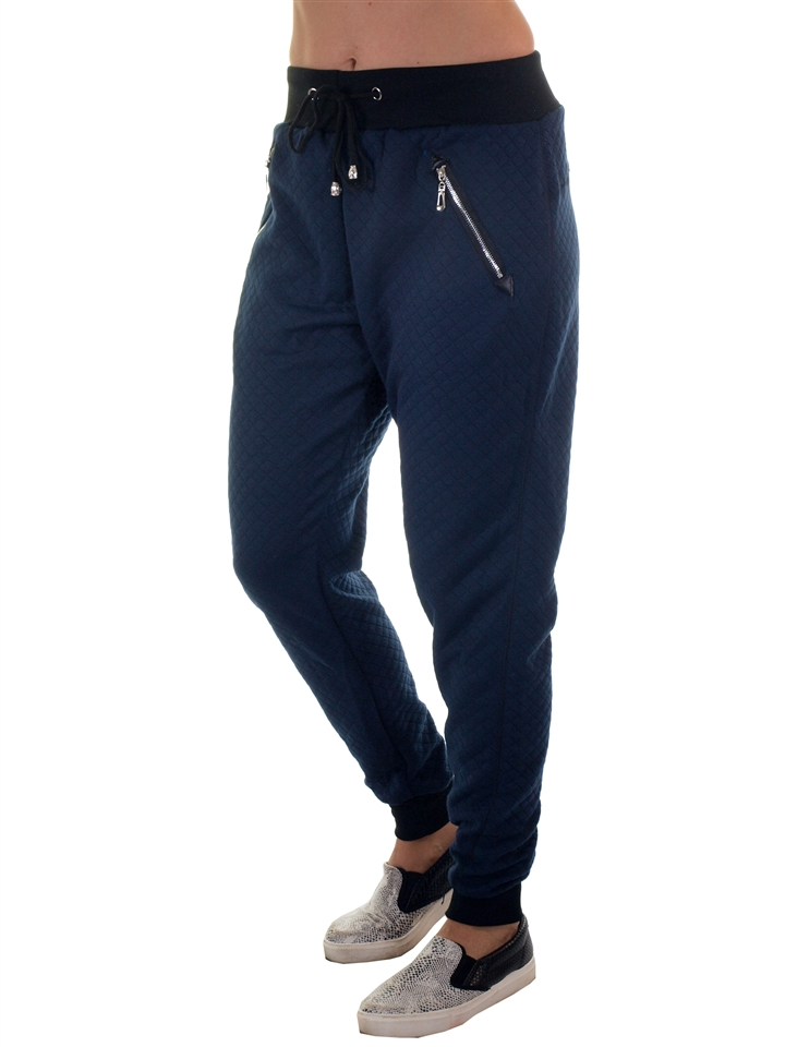 f116aa4fd12b2 2034N-Y1001-Navy Blue- Ladies Quilted Jogger Pants With Zip Up Pockets  /Size S/M-3 M/L-3