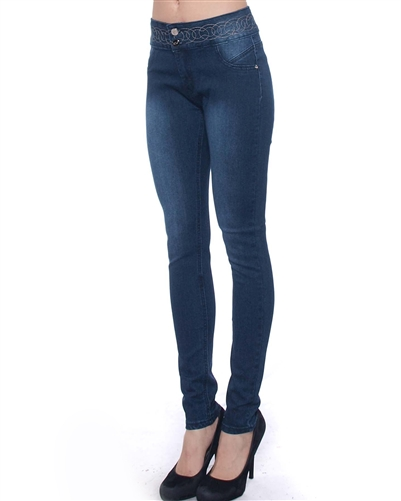 2046N-JS15-1001-Light Blue - 2 Buttons Stretchable Skinny Jeans with Waistband Design / 1-1-2-2-2-2-1-1