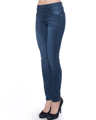 2046N-JS15-1007-Light Blue Whikey - 2 Buttons Stretchable Skinny Jeans/ 1-1-2-2-2-2-1-1
