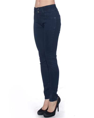 2046N-LJS15-1007-Deep Blue - 2 Buttons Stretchable Skinny Jeans/ 1-1-2-2-2-2-1-1