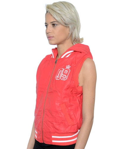 2052N-1LI0859-Hot Pink-PU Varsity Hooded Vest with Faux Fur Lining / 1-2-2-1