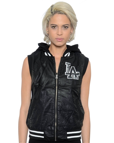2052N-1LI0865-Black-PU Varsity Hooded Vest with Faux Fur Lining / 1-2-2-1