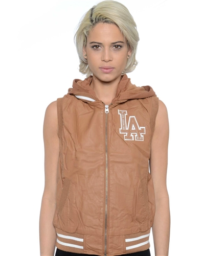 2052N-1LI0865-Camel-PU Varsity Hooded Vest with Faux Fur Lining / 1-2-2-1