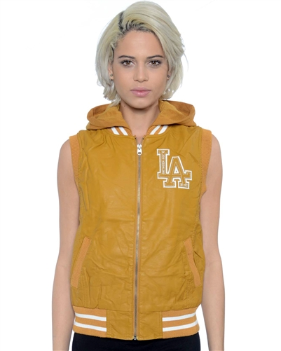 2052N-1LI0865-Toffee-PU Varsity Hooded Vest with Faux Fur Lining / 1-2-2-1