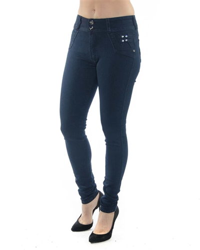 2058N-JS15-1008-Dark Blue - 2 Buttons Stretchable Skinny Jeans/ 1-1-2-2-2-2-1-1