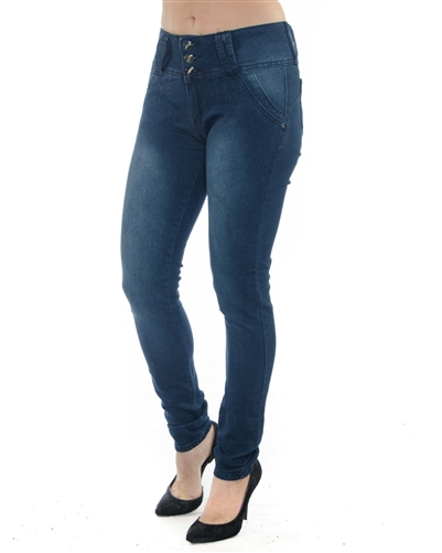 2058N-LJS15-1005-Mid Blue - 3 Buttons Stretchable Skinny Jeans / 1-1-2-2-2-2-1-1