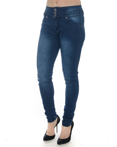2058N-LJS15-1010-Mid Blue - 3 Buttons Stretchable Skinny Jeans  / 1-1-2-2-2-2-1-1