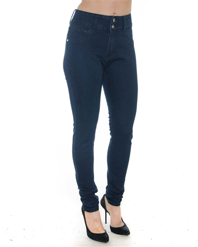 2058N-LJS15-1022-Deep Blue - 2 Buttons Stretchable Skinny Jeans / 1-1-2-2-2-2-1-1