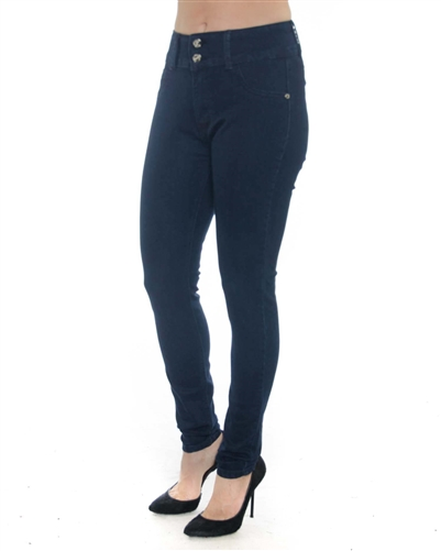 2058N-LJS15-1027-Deep Blue - 2 Buttons Stretchable Skinny Jeans / 1-1-2-2-2-2-1-1