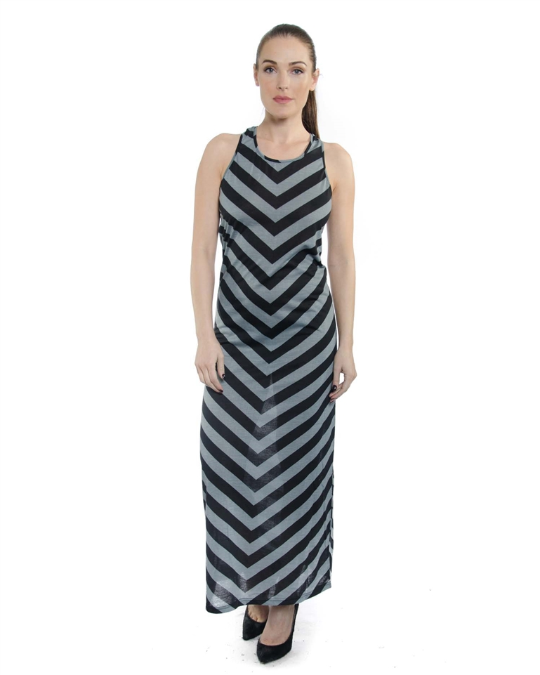 2062n So8905 Charcoal Women S Stripe Summer Maxi Dress Scoop Tank