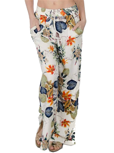 2068N-SO-7B- Ladies Bohemian Printed Palazzo Pants with Elastic Waistband, Pockets & Bottom Slit By: Special One/ 1-2-2-1