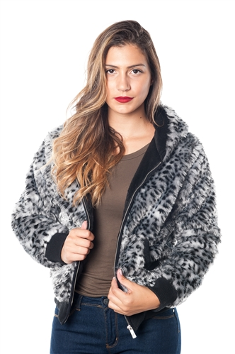 2078N-SOFH820-Grey-  Leopard Print Faux Fur Lined Hooded Jacket/ 1-2-2-1