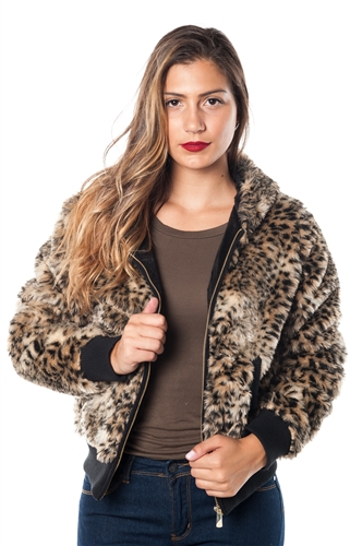 2078N-SOFH820-Yellow-  Leopard Print Faux Fur Lined Hooded Jacket/ 1-2-2-1
