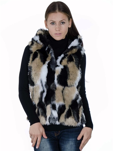 2078N-SOFJ-822-Jacquard-  Fashion Faux Fur Jacquard Hooded Vest/ 1-2-2-1
