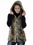 2078N-SOFL-821-Leopard Vest-  Fashion Leopard Print Faux Fur Vest, Hooded/ 1-2-2-1