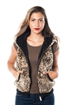 2078N-SOFV819-Yellow-  Leopard Print Faux Fur Lined Hooded Vest/ 1-2-2-1