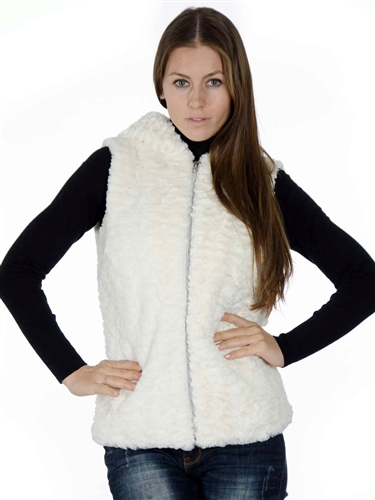 2078N-SOFW-823-Cream-  Fashion Medium Length Faux Fur Jacquard Hooded Vest/1-2-2-1