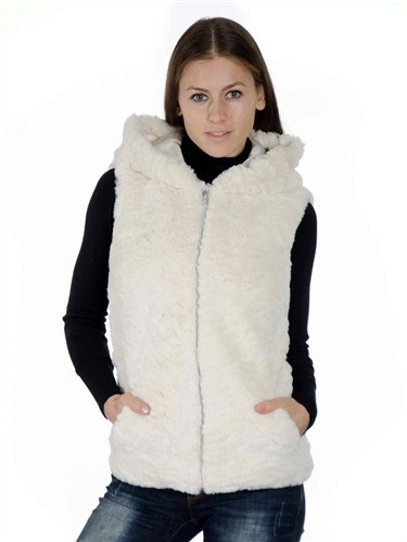 2078N-SOFW-824-Beige-  Fashion Medium Length Faux Fur Jacquard Hooded Vest/ 1-2-2-1