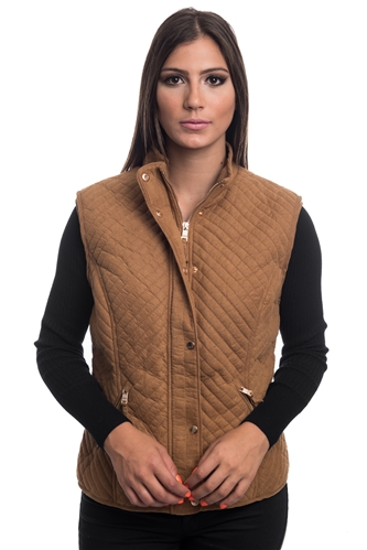 2079N-SOSV112-Camel- Women's Fur Lined Quilted Bonded Vest Zip Up And Suede / 1-2-2-1