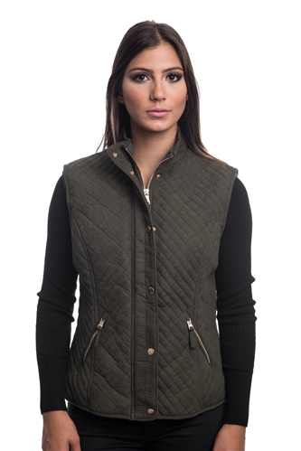 2079N-SOSV112-Dark Olive-Women's Fur Lined Quilted Bonded Vest Zip Up And Suede/ 1-2-2-1