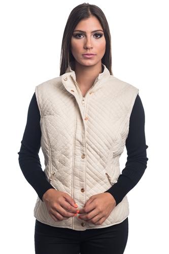2079N-SOSV112-Off White-Women's Fur Lined Quilted Bonded Vest Zip Up And Suede/ 1-2-2-1