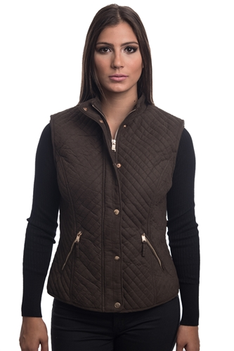 2079N-SOSV112-Tobacco-Women's Fur Lined Quilted Bonded Vest Zip Up And Suede/ 1-2-2-1