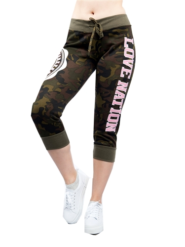 2086N-FT205-Green- Active Fleece Capri Leggings Army Camouflage & Applique Print By Special One / 1-2-2-1