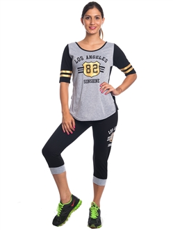 2086N-JS258-Black-Grey-Ladies Summer Time Activity Set w/ Adjustable Drawstring By Special One / 1-2-2-1
