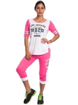 2086N-JS258-Coral-White-Ladies Summer Time Activity Set w/ Adjustable Drawstring By Special One / 1-2-2-1
