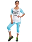 2086N-JS258-White-Blue-Ladies Summer Time Activity Set w/ Adjustable Drawstring By Special One / 1-2-2-1