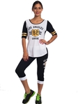 2086N-JS258-White-Black-Ladies Summer Time Activity Set w/ Adjustable Drawstring By Special One / 1-2-2-1