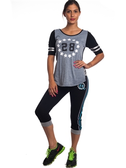 "2086N-JS260-Black/Grey-Ladies Summer Time Activity Set w/ Waistband Print ""Play Love"" & Drawstring By Special One / 1-2-2-1"