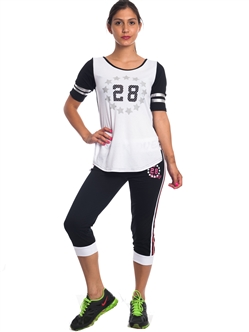 "2086N-JS260-Black/White-Ladies Summer Time Activity Set w/ Waistband Print ""Play Love"" & Drawstring By Special One / 1-2-2-1"