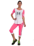 "2086N-JS260-Coral/White-Ladies Summer Time Activity Set w/ Waistband Print ""Play Love"" & Drawstring By Special One / 1-2-2-1"