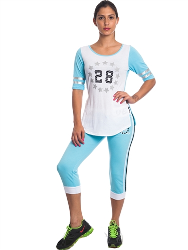 "2086N-JS260-Sky Blue/White-Ladies Summer Time Activity Set w/ Waistband Print ""Play Love"" & Drawstring By Special One / 1-2-2-1"