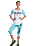 2086N-JS269-Sky Blue/White-Ladies Summer Time Activity Set w/ Adjustable Drawstring By Special One / 1-2-2-1