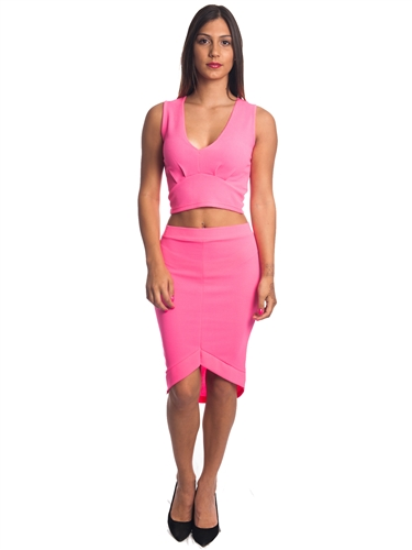 2086N-SS418-Fuchsia- 2Pcs Bodycon Crop Top & Mini Skirt Set Outfit Dress/ 1-2-2-1