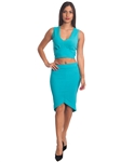 2086N-SS418-Jade- 2Pcs Bodycon Crop Top & Mini Skirt Set Outfit Dress/ 1-2-2-1