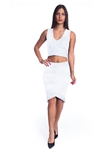 2086N-SS418-White- 2Pcs Bodycon Crop Top & Mini Skirt Set Outfit Dress/ 1-2-2-1