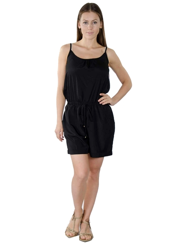 3000N-SP32717-Black- Adjustable Spaghetti Straps Summer Woven  Romper Shorts/ 1-2-2-1