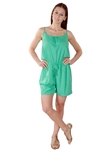 3000N-SP32717-Green- Adjustable Spaghetti Straps Summer Woven Romper Shorts/ 1-2-2-1