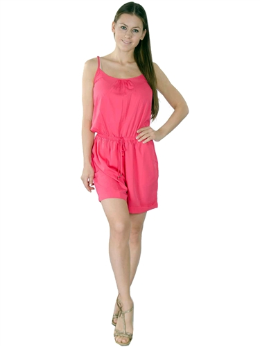 3000N-SP32717-Hot Pink- Adjustable Spaghetti Straps Summer Woven Romper Shorts/ 1-2-2-1